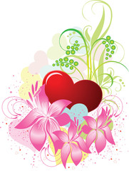 Valentines Day background with Hearts and flowers