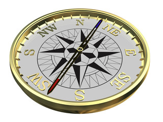 Gold compass on white