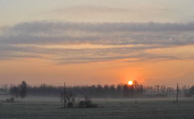 sunrise winter landscape - Italy pianura padana