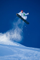 Skillful snowboarder