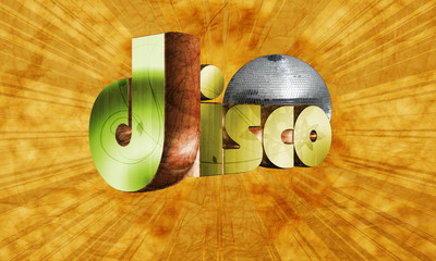 Modern Disco style in high resolution with 3d text
