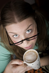 Pretty Young Woman with Coffee