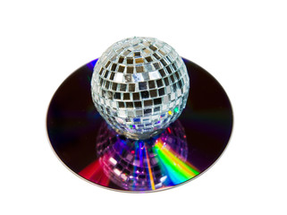 Disco Ball with music CD isolated over white with clipping path