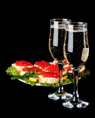 Red caviar and champagne