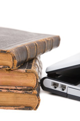 Laptop and legal books