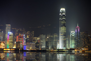 Night scene of Hong Kong, you can see the pollution