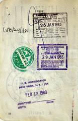 Italian passport. Singapore,USA and Malaysia border stamps