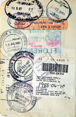 Italian passport. Australia,Spain,South Africa border stamps
