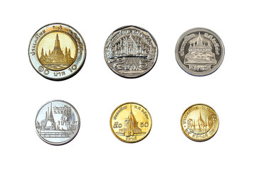 satangs & baht (thailand coins)