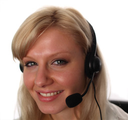 Woman on Headset Working