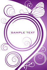 Abstract lilac floral background with butterfly