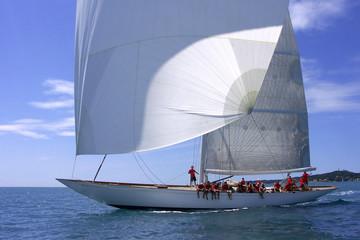 Yacht mit windgeblähten Segeln