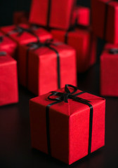 many red gift boxes