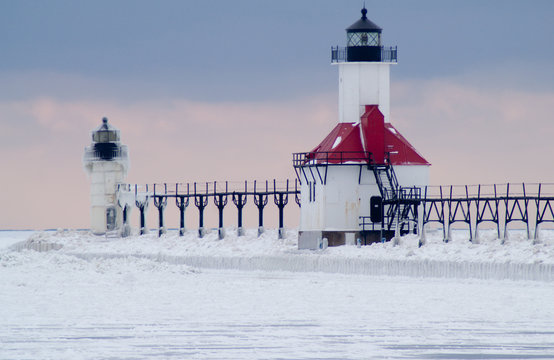 St., Joseph North Pier Lighthouse in Winter