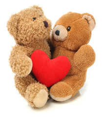 Two Teddy Bears with heart