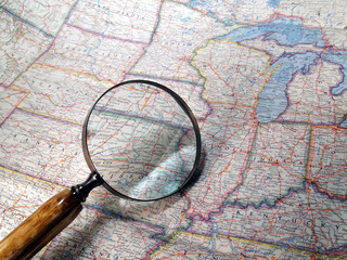 Magnifying Glass on USA Map