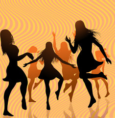 silohuettes dancing girls