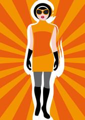 Girl's Vintage Clothing on Sunburst Background 1