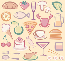 Background with various images of food