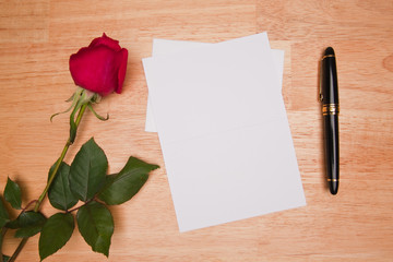 Blank Card, Rose and Pen