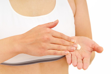 Treatment of dry hands skin with cream