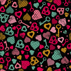 background with hearts and keys