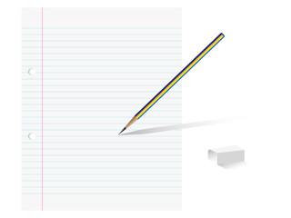 Paper pencil and eraser
