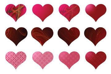 12 Herzen, rosa und rot
