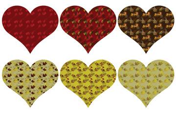 6 Herzen mit kleinen Zweigen und Blättern