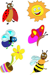 Collection of cute insects