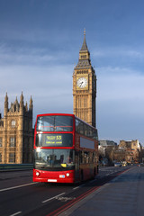 Printed roller blinds London red bus Houses of Parliament with red bus in London