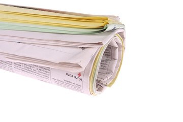 .Roll of newspapers, isolated on white background