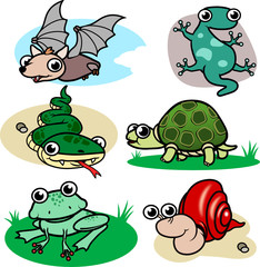 cartoon reptiles stock