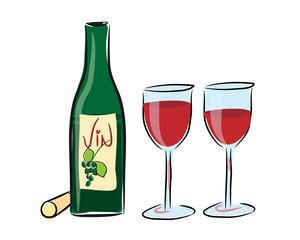 Weinflasche mit Gläsern