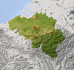 Belgium, shaded relief map, colored for vegetation