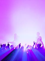 Konzert-Publikum blau magenta
