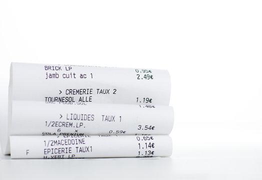 ticket de caisse - achat d'alimentation
