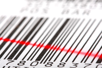 Barcode label close-up.