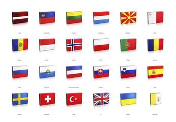 3D European Banner Flags 2 of 2