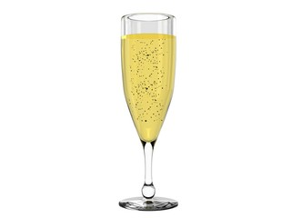 Champagne in glass isolated on white background