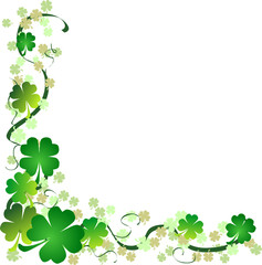 a St. Patrick's day background with four leaf clovers