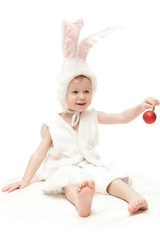 baby in rabbit costume isolated on white