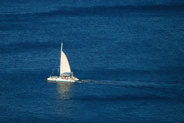 White yacht on the blue sea