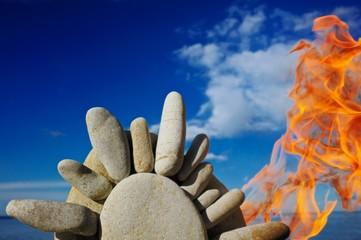 Stones on fire