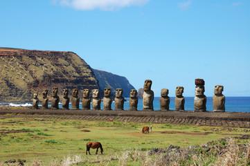 15 Moai at Ahu Tongariki (Easter Island, Chile)