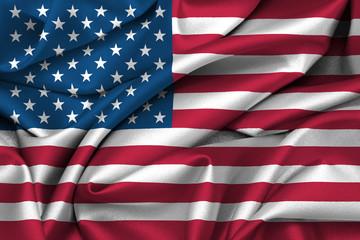 USA flag waving on satin texture