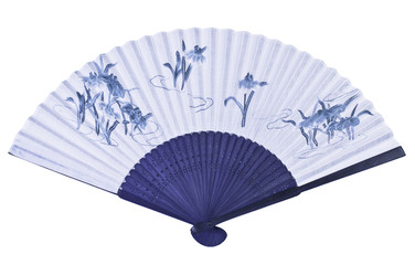 Unfolded blue Chinese or Japanese fan.