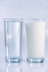 Glass of water and milk