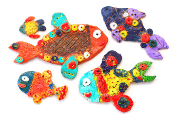 Clay fishes, isolated