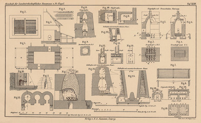 Historical 142 years old technical drawing - scan floor plan